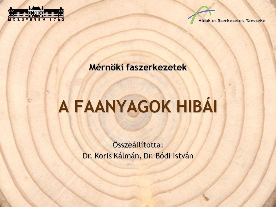 Fahibák A faanyagok hibái a fák növekedése során bekövetkezett szöveti rendellenességekből, a kitermelés, a szállítás és a további feldolgozás folyamán szerzett károsodásból származnak; jelentősek továbbá a biológiai károsítók okozta hibák, amelyeket a faanyag betegségeinek is szokás nevezni.