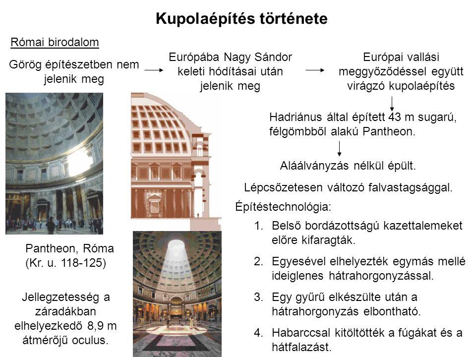 Kupolaépítés története Bizánci birodalom Kupolaépítés – szakrális építészet része - nagyon nagy számú, fényűző épületek Hagia Sophia, Istanbul (Kr.