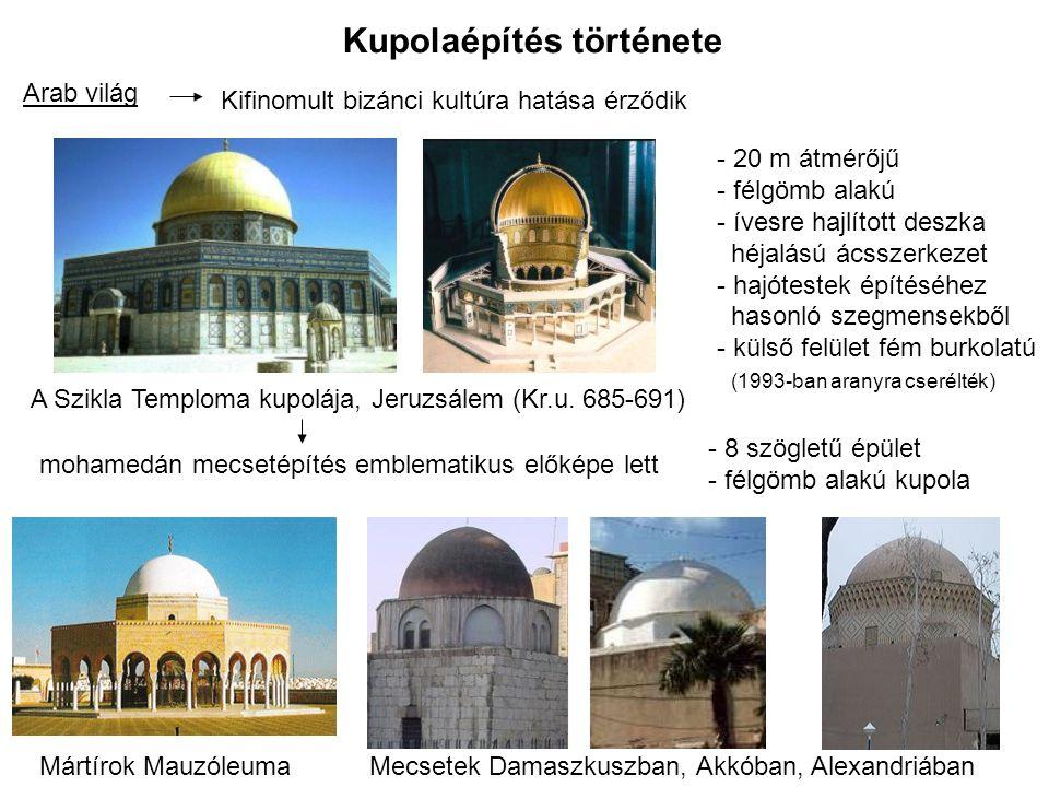 Kupolaépítés története Modul birodalomBizánci és arab építészet hatása érződik Újítás: Madzsid-i Sah nagymecset, Iszfahán (1612-1637) Rekeszfalakkal összekapcsolt kettős falazott kupola.