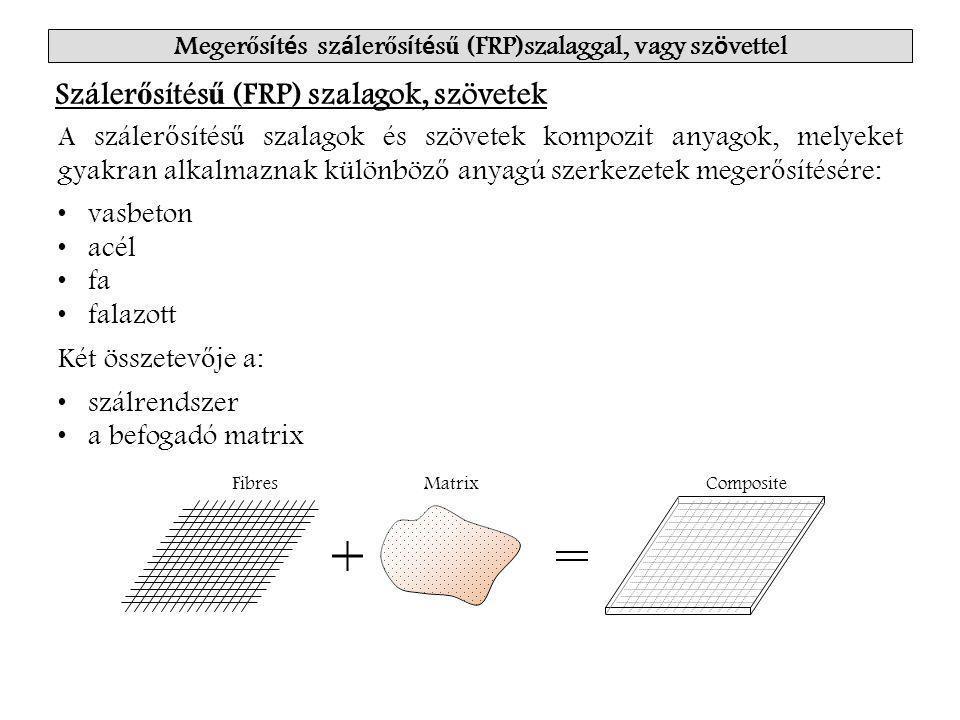 Meger ő s í t é s sz á ler ő s í t é s ű (FRP)szalaggal, vagy sz ö vettel Száler ő sítés ű (FRP) szalagok, szövetek A száler ő sítés ű szalagok és szövetek kompozit anyagok, melyeket gyakran alkalmaznak különböz ő anyagú szerkezetek meger ő sítésére: vasbeton acél fa falazott Két összetev ő je a: szálrendszer a befogadó matrix FibresMatrixComposite