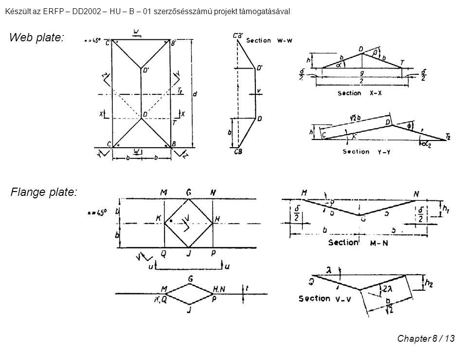 Készült az ERFP – DD2002 – HU – B – 01 szerzősésszámú projekt támogatásával Chapter 8 / 13 Web plate: Flange plate: