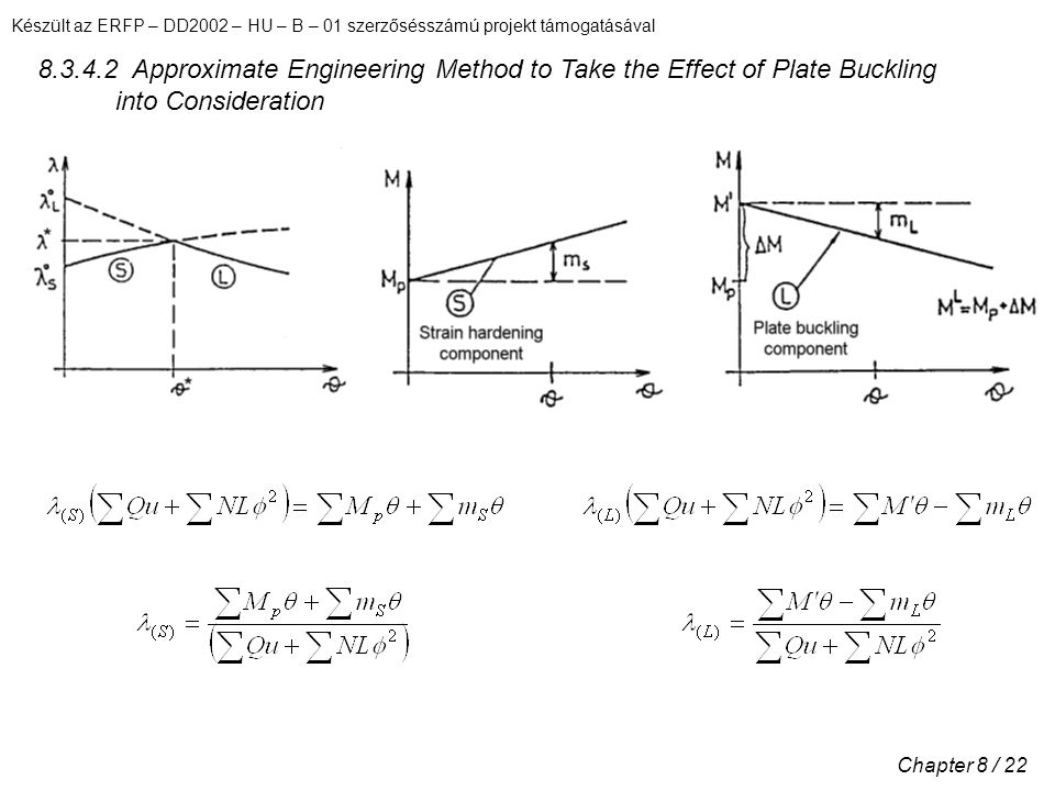 Készült az ERFP – DD2002 – HU – B – 01 szerzősésszámú projekt támogatásával Chapter 8 / 22 8.3.4.2 Approximate Engineering Method to Take the Effect of Plate Buckling into Consideration