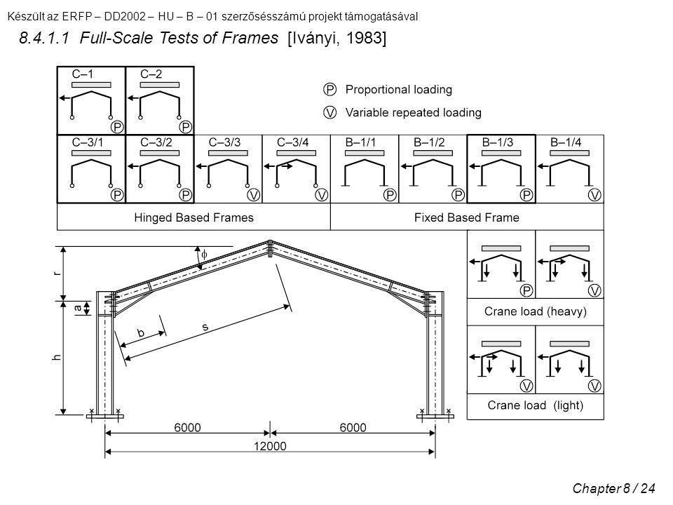 Készült az ERFP – DD2002 – HU – B – 01 szerzősésszámú projekt támogatásával Chapter 8 / 24 8.4.1.1 Full-Scale Tests of Frames [Iványi, 1983]