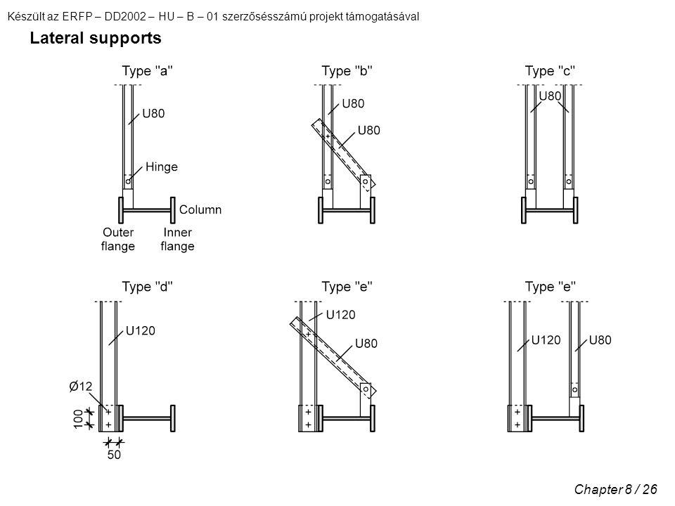 Készült az ERFP – DD2002 – HU – B – 01 szerzősésszámú projekt támogatásával Chapter 8 / 26 Lateral supports