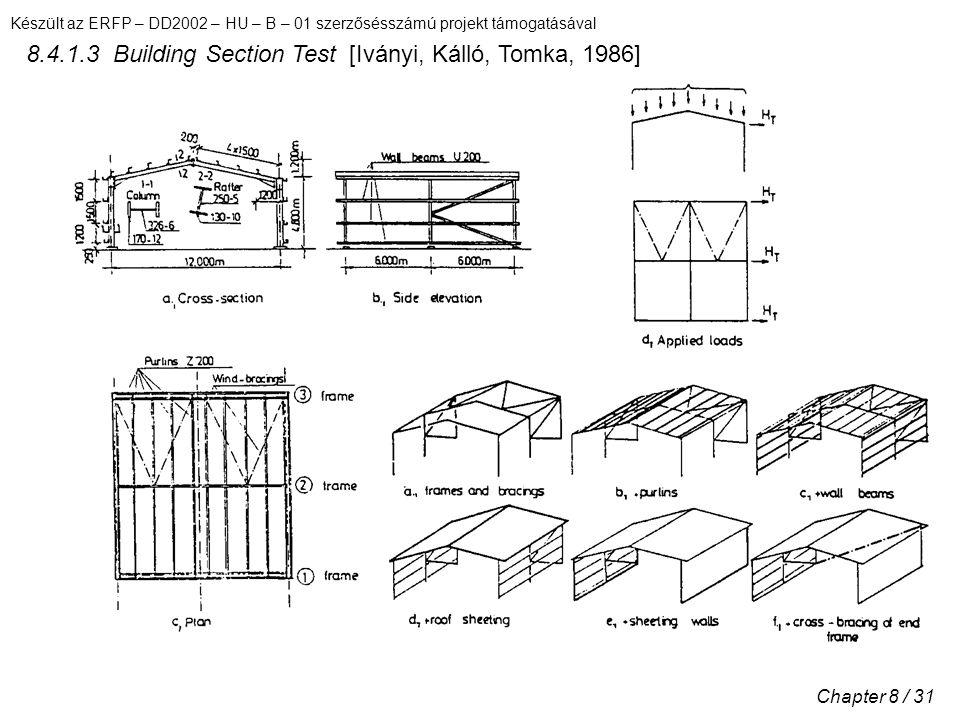 Készült az ERFP – DD2002 – HU – B – 01 szerzősésszámú projekt támogatásával Chapter 8 / 31 8.4.1.3 Building Section Test [Iványi, Kálló, Tomka, 1986]