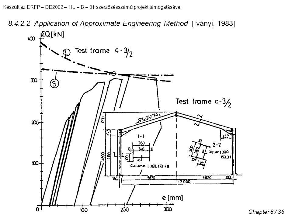 Készült az ERFP – DD2002 – HU – B – 01 szerzősésszámú projekt támogatásával Chapter 8 / 36 8.4.2.2 Application of Approximate Engineering Method [Iványi, 1983]