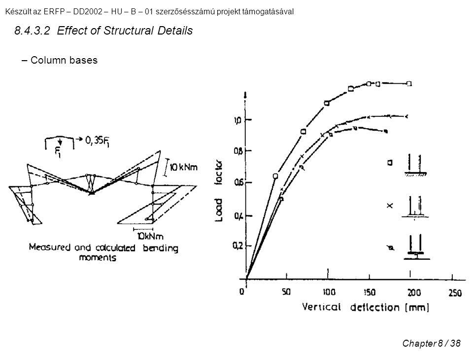 Készült az ERFP – DD2002 – HU – B – 01 szerzősésszámú projekt támogatásával Chapter 8 / 38 8.4.3.2 Effect of Structural Details – Column bases