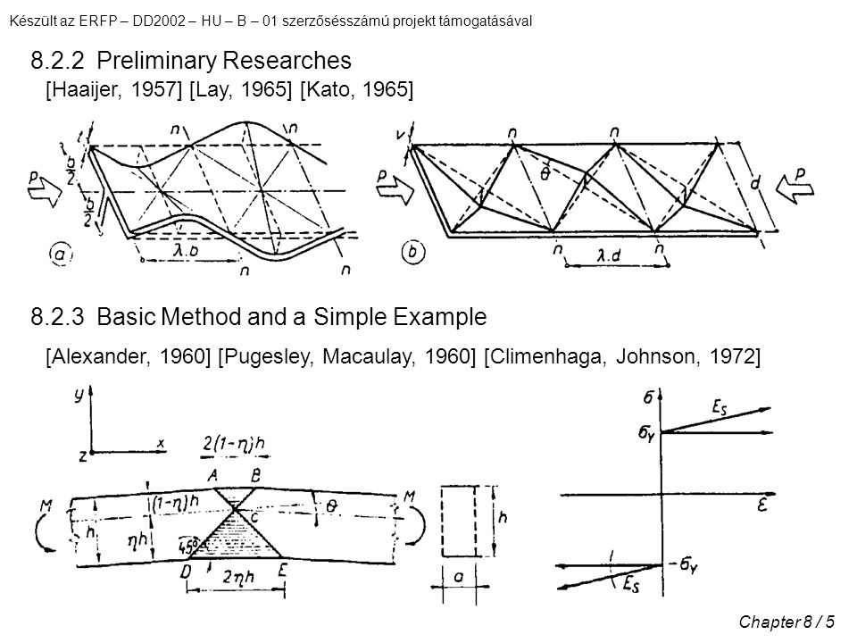 Készült az ERFP – DD2002 – HU – B – 01 szerzősésszámú projekt támogatásával Chapter 8 / 5 8.2.2 Preliminary Researches 8.2.3 Basic Method and a Simple Example [Haaijer, 1957] [Lay, 1965] [Kato, 1965] [Alexander, 1960] [Pugesley, Macaulay, 1960] [Climenhaga, Johnson, 1972]