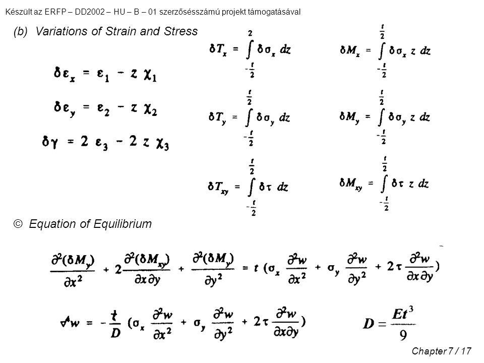 Készült az ERFP – DD2002 – HU – B – 01 szerzősésszámú projekt támogatásával Chapter 7 / 17 (b) Variations of Strain and Stress © Equation of Equilibri