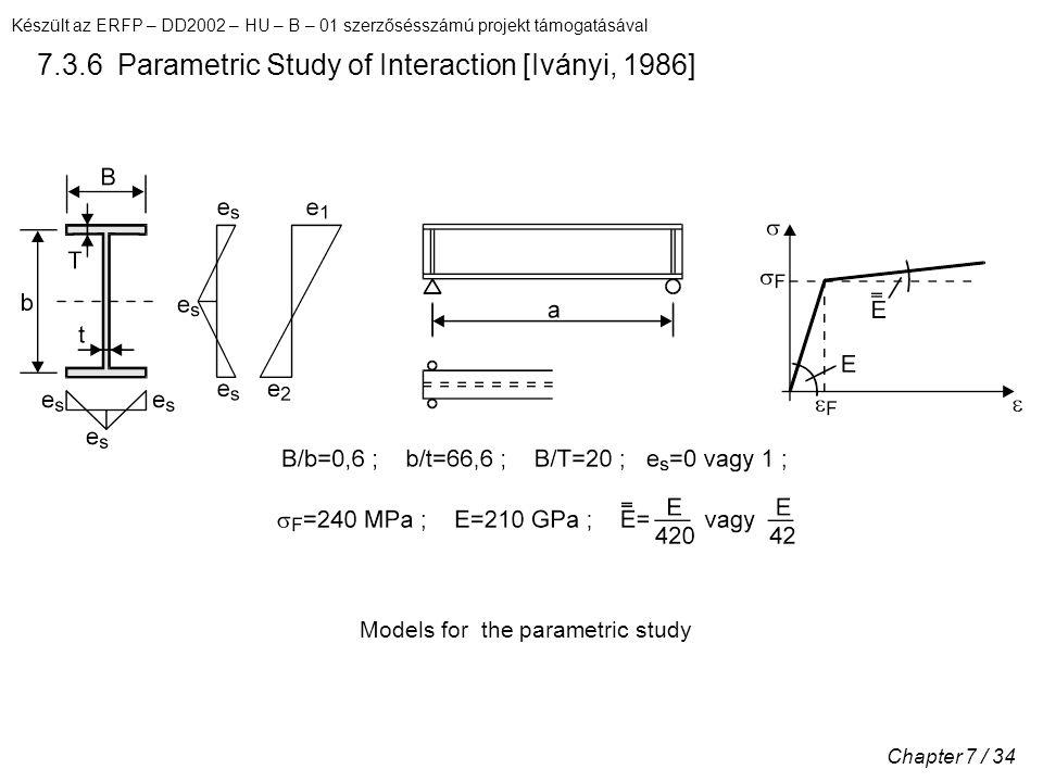Készült az ERFP – DD2002 – HU – B – 01 szerzősésszámú projekt támogatásával Chapter 7 / 34 7.3.6 Parametric Study of Interaction [Iványi, 1986] Models