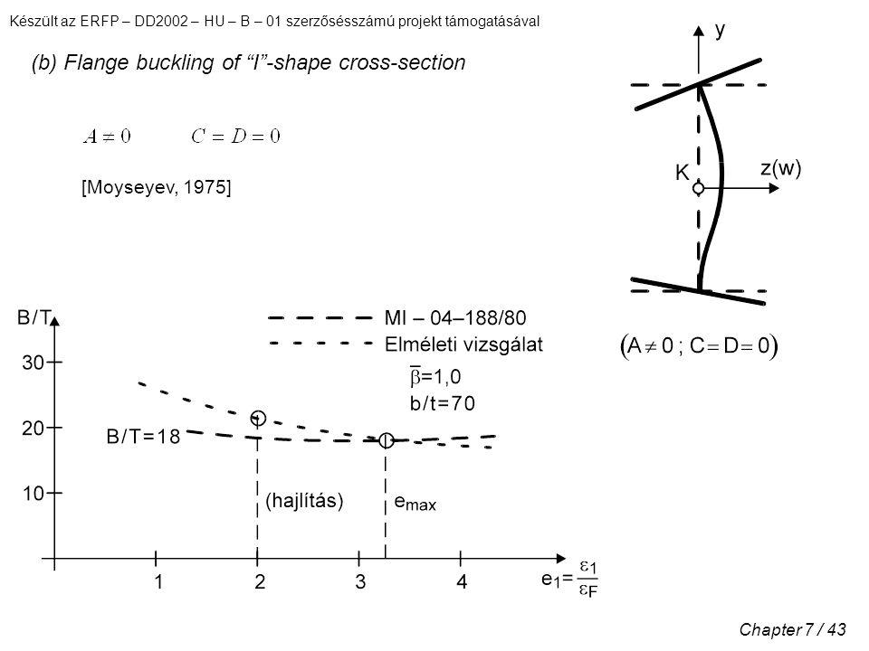 Készült az ERFP – DD2002 – HU – B – 01 szerzősésszámú projekt támogatásával Chapter 7 / 43 (b) Flange buckling of I -shape cross-section [Moyseyev, 1975]