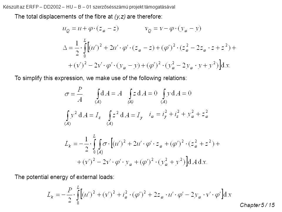 Készült az ERFP – DD2002 – HU – B – 01 szerzősésszámú projekt támogatásával Chapter 5 / 15 The total displacements of the fibre at (y,z) are therefore: To simplify this expression, we make use of the following relations: The potential energy of external loads:
