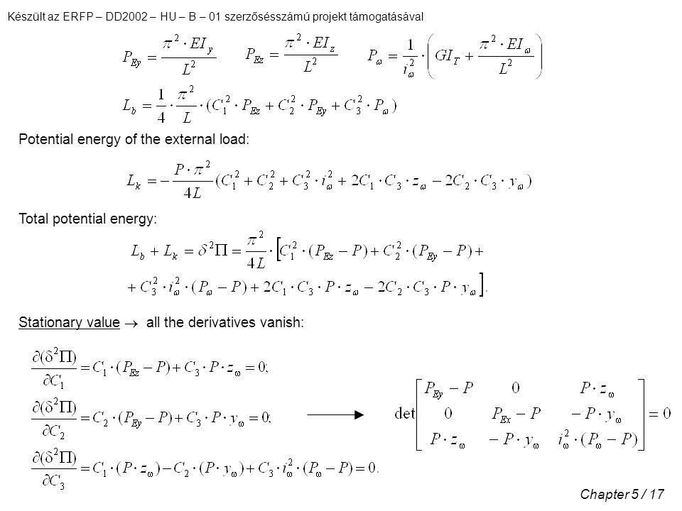 Készült az ERFP – DD2002 – HU – B – 01 szerzősésszámú projekt támogatásával Chapter 5 / 17 Potential energy of the external load: Total potential energy: Stationary value  all the derivatives vanish: