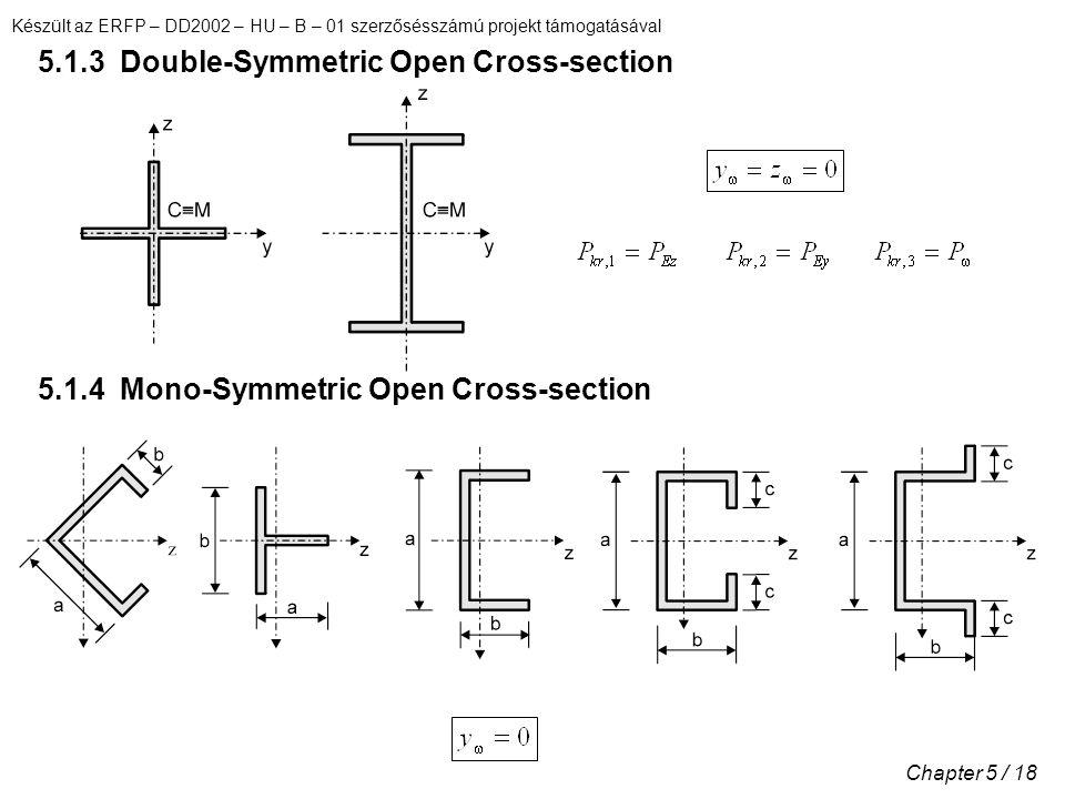 Készült az ERFP – DD2002 – HU – B – 01 szerzősésszámú projekt támogatásával Chapter 5 / 18 5.1.3 Double-Symmetric Open Cross-section 5.1.4 Mono-Symmetric Open Cross-section