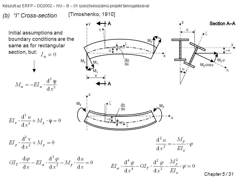 Készült az ERFP – DD2002 – HU – B – 01 szerzősésszámú projekt támogatásával Chapter 5 / 31 (b) I Cross-section [Timoshenko, 1910] Initial assumptions and boundary conditions are the same as for rectangular section, but:
