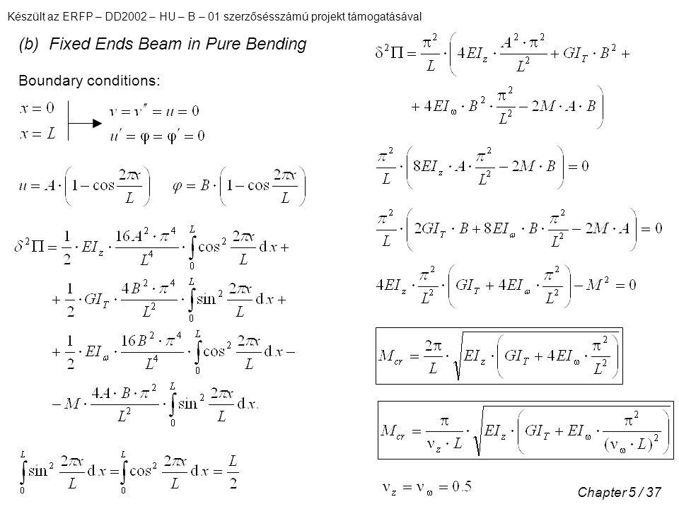 Készült az ERFP – DD2002 – HU – B – 01 szerzősésszámú projekt támogatásával Chapter 5 / 37 (b) Fixed Ends Beam in Pure Bending Boundary conditions:
