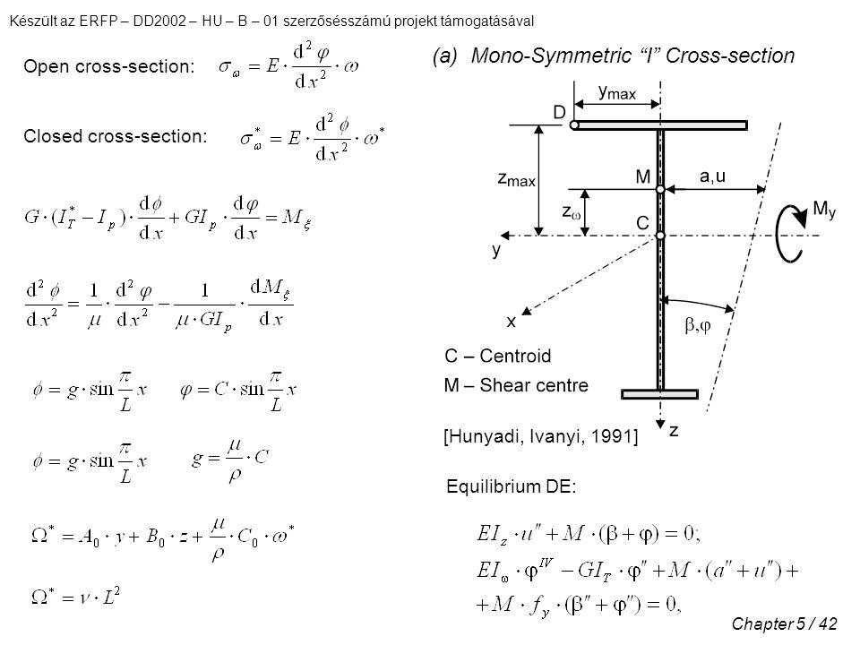 Készült az ERFP – DD2002 – HU – B – 01 szerzősésszámú projekt támogatásával Chapter 5 / 42 Open cross-section: Closed cross-section: [Hunyadi, Ivanyi, 1991] Equilibrium DE: (a) Mono-Symmetric I Cross-section