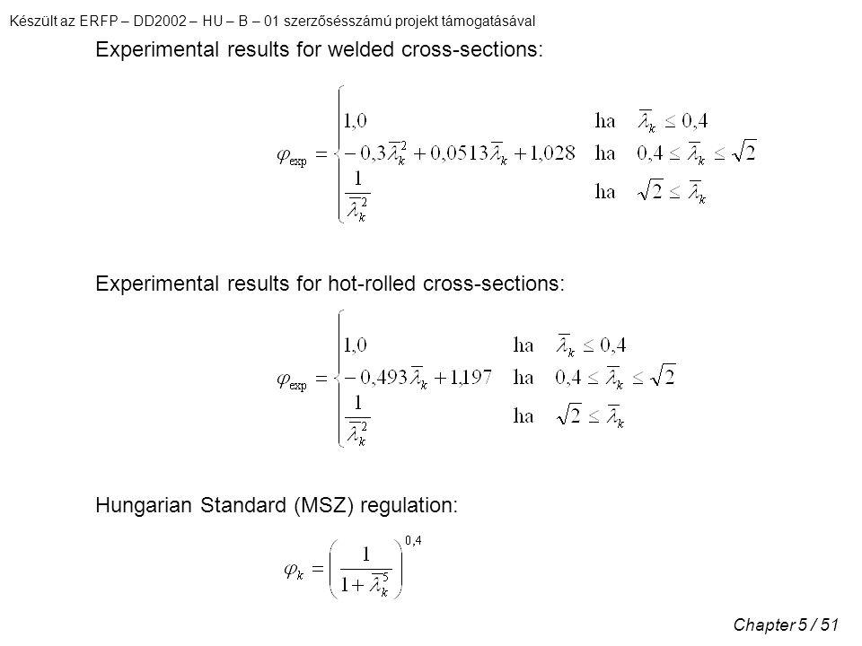 Készült az ERFP – DD2002 – HU – B – 01 szerzősésszámú projekt támogatásával Chapter 5 / 51 Experimental results for welded cross-sections: Experimental results for hot-rolled cross-sections: Hungarian Standard (MSZ) regulation: