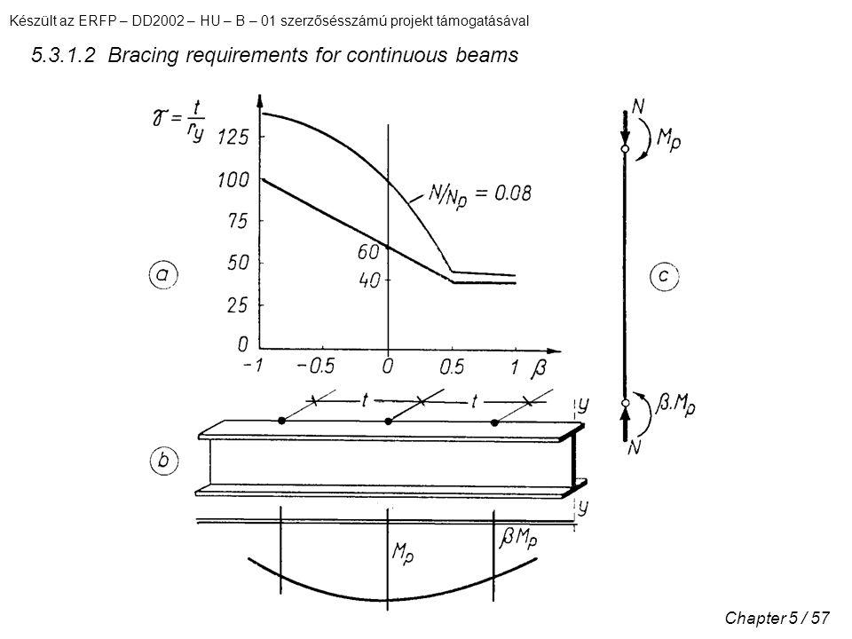 Készült az ERFP – DD2002 – HU – B – 01 szerzősésszámú projekt támogatásával Chapter 5 / 57 5.3.1.2 Bracing requirements for continuous beams