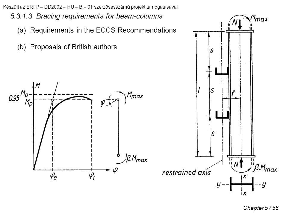 Készült az ERFP – DD2002 – HU – B – 01 szerzősésszámú projekt támogatásával Chapter 5 / 58 5.3.1.3 Bracing requirements for beam-columns (a) Requirements in the ECCS Recommendations (b) Proposals of British authors