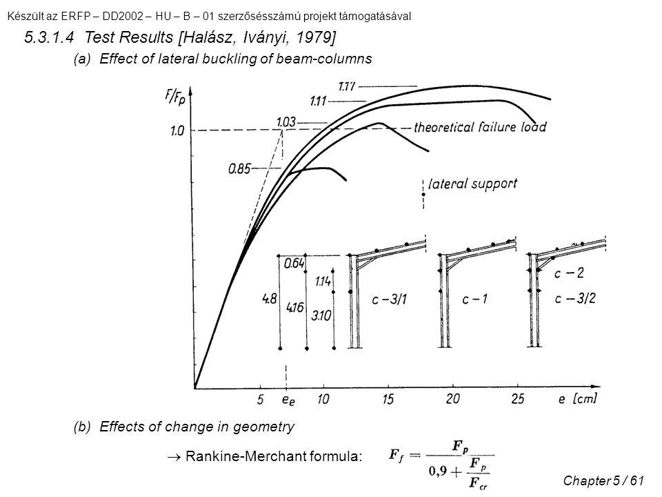 Készült az ERFP – DD2002 – HU – B – 01 szerzősésszámú projekt támogatásával Chapter 5 / 61 5.3.1.4 Test Results [Halász, Iványi, 1979] (a) Effect of lateral buckling of beam-columns (b) Effects of change in geometry  Rankine-Merchant formula: