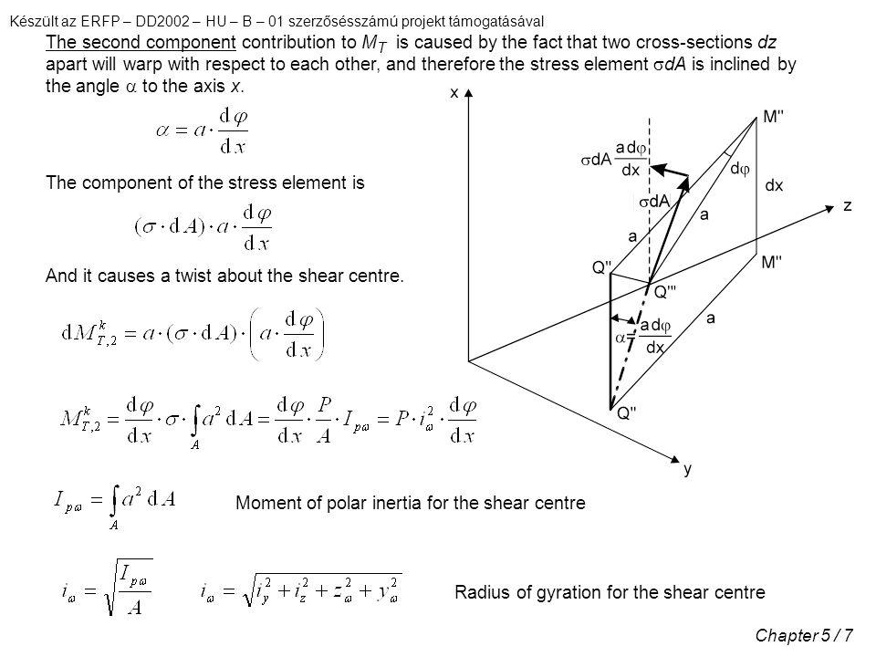 Készült az ERFP – DD2002 – HU – B – 01 szerzősésszámú projekt támogatásával Chapter 5 / 8 Saint-Venant torsion: Non-uniform torsion: Equilibrium: Boundary conditions: (c) Solution of equilibrium equations