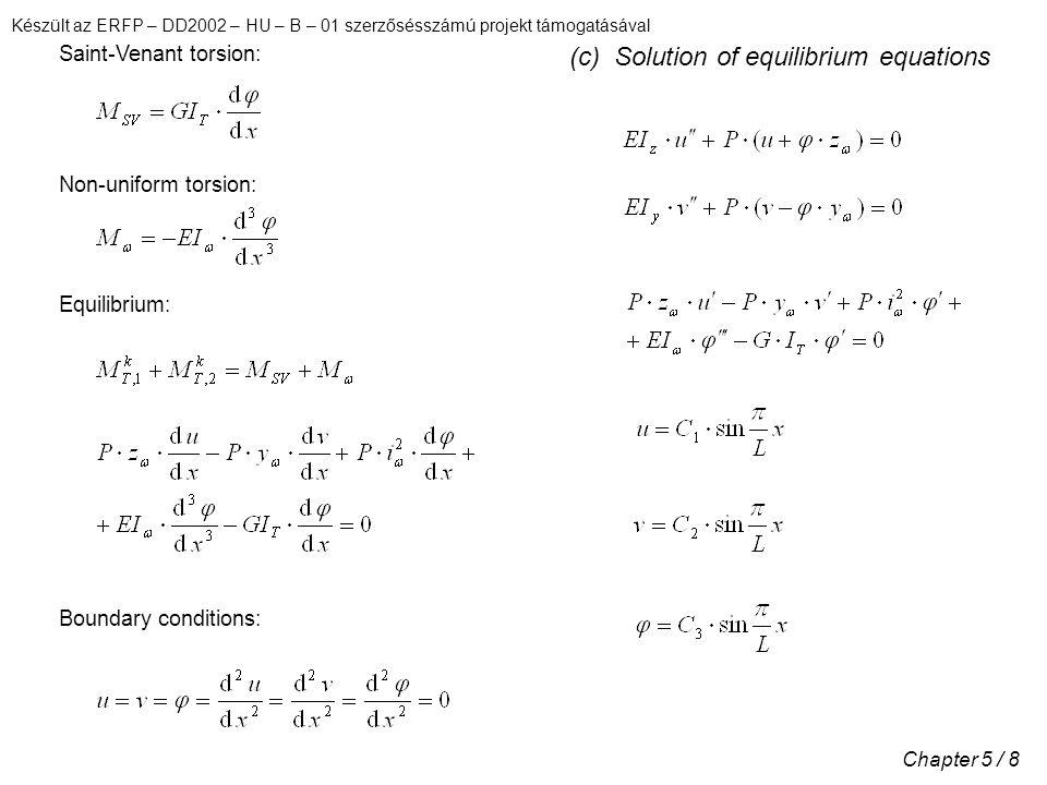 Készült az ERFP – DD2002 – HU – B – 01 szerzősésszámú projekt támogatásával Chapter 5 / 29 For rectangular cross-section it is supposed: Moment components: Substitution of the expressions in DE, leads to the following equations: