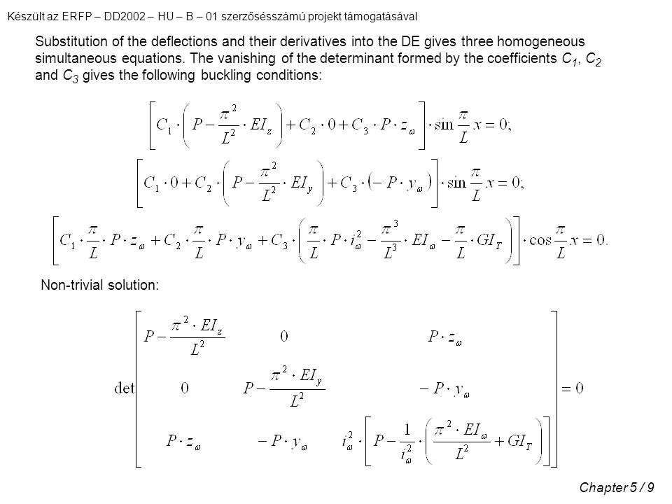 Készült az ERFP – DD2002 – HU – B – 01 szerzősésszámú projekt támogatásával Chapter 5 / 9 Substitution of the deflections and their derivatives into the DE gives three homogeneous simultaneous equations.