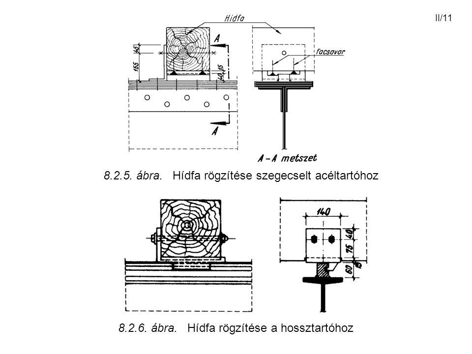 II/11 8.2.5. ábra. Hídfa rögzítése szegecselt acéltartóhoz 8.2.6. ábra. Hídfa rögzítése a hossztartóhoz