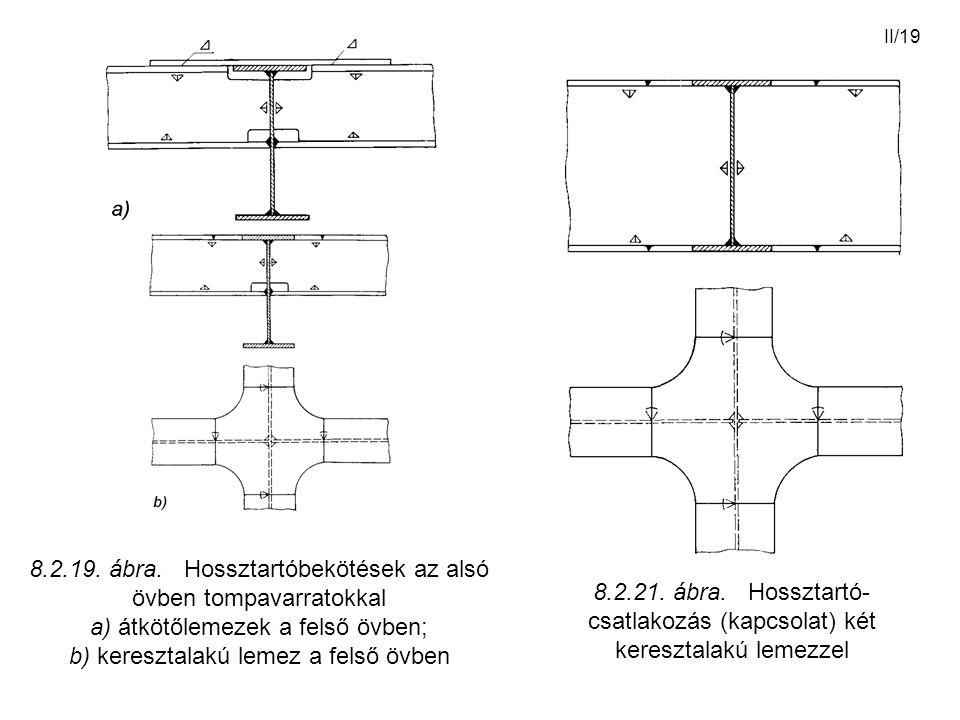 II/19 8.2.21. ábra. Hossztartó- csatlakozás (kapcsolat) két keresztalakú lemezzel 8.2.19. ábra. Hossztartóbekötések az alsó övben tompavarratokkal a)