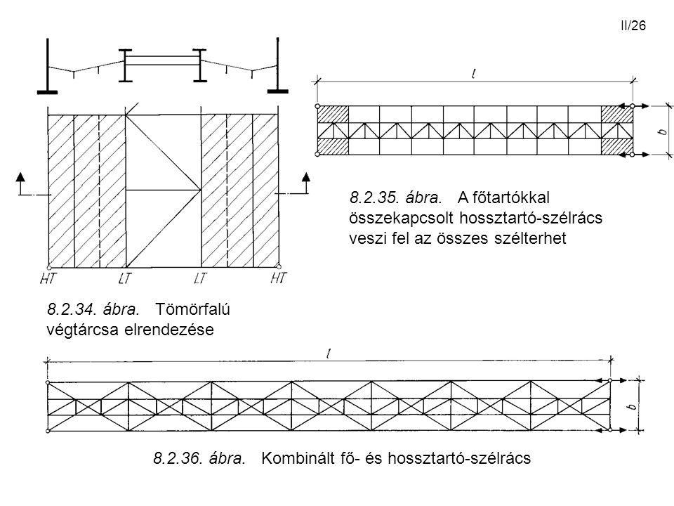 II/26 8.2.35. ábra. A főtartókkal összekapcsolt hossztartó-szélrács veszi fel az összes szélterhet 8.2.34. ábra. Tömörfalú végtárcsa elrendezése 8.2.3