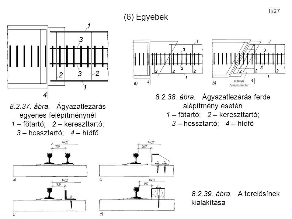 II/27 (6) Egyebek 8.2.37. ábra. Ágyazatlezárás egyenes felépítménynél 1 – főtartó; 2 – kereszttartó; 3 – hossztartó; 4 – hídfő 8.2.38. ábra. Ágyazatle