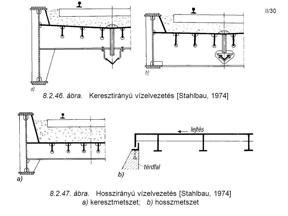 II/30 8.2.46. ábra. Keresztirányú vízelvezetés [Stahlbau, 1974] 8.2.47. ábra. Hosszirányú vízelvezetés [Stahlbau, 1974] a) keresztmetszet; b) hosszmet