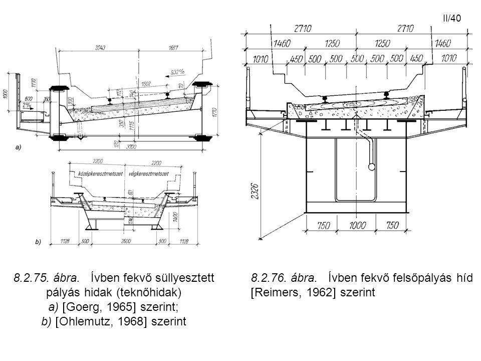 II/40 8.2.76. ábra. Ívben fekvő felsőpályás híd  Reimers, 1962  szerint 8.2.75. ábra. Ívben fekvő süllyesztett pályás hidak (teknőhidak) a)  Goerg,