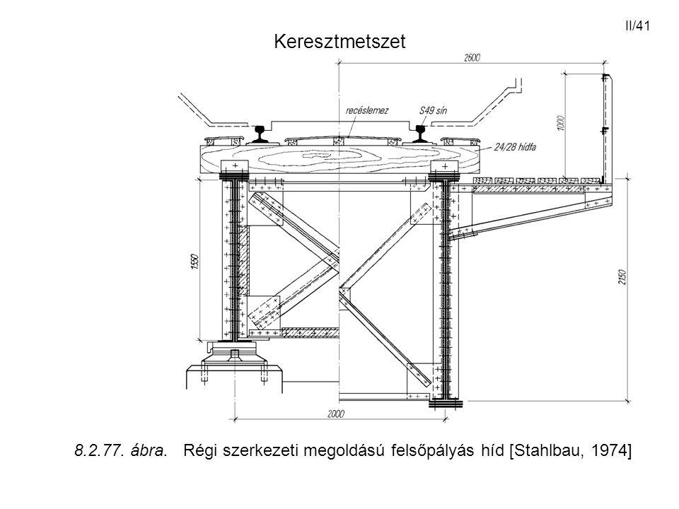 II/41 Keresztmetszet 8.2.77. ábra. Régi szerkezeti megoldású felsőpályás híd [Stahlbau, 1974]