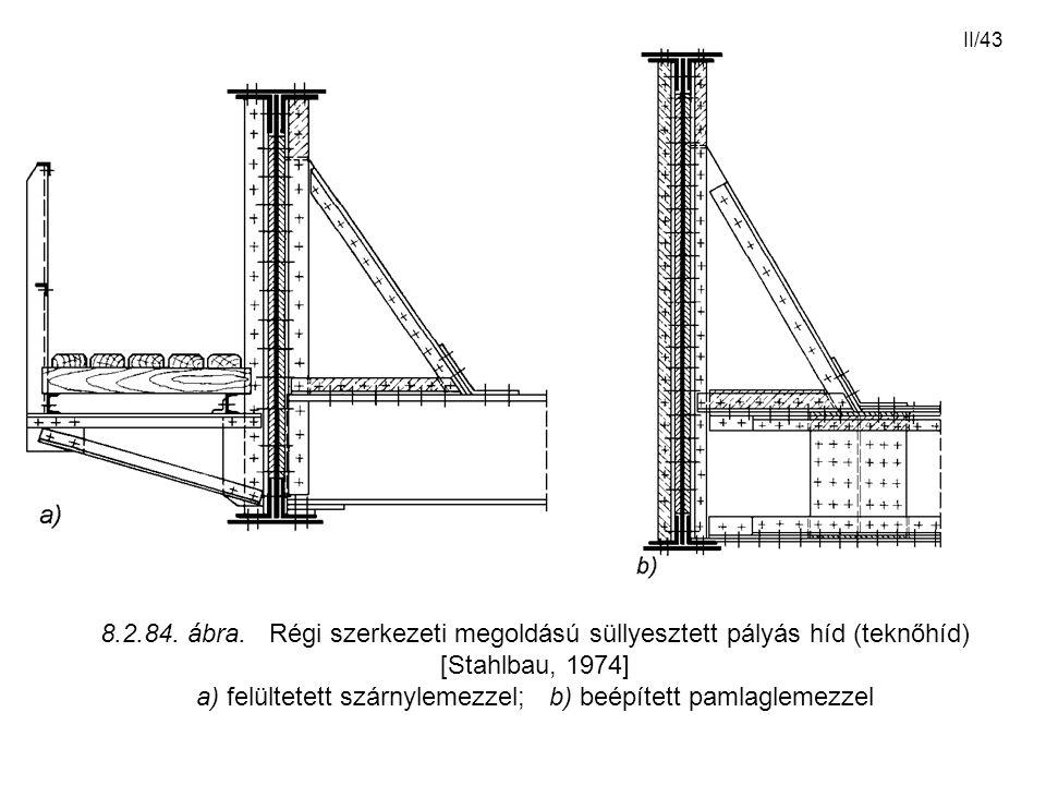 II/43 8.2.84. ábra. Régi szerkezeti megoldású süllyesztett pályás híd (teknőhíd) [Stahlbau, 1974] a) felültetett szárnylemezzel; b) beépített pamlagle