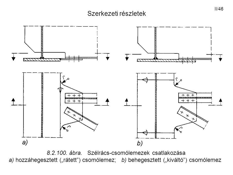 """II/46 Szerkezeti részletek 8.2.100. ábra. Szélrács-csomólemezek csatlakozása a) hozzáhegesztett (""""rátett"""") csomólemez; b) behegesztett (""""kiváltó"""") cso"""