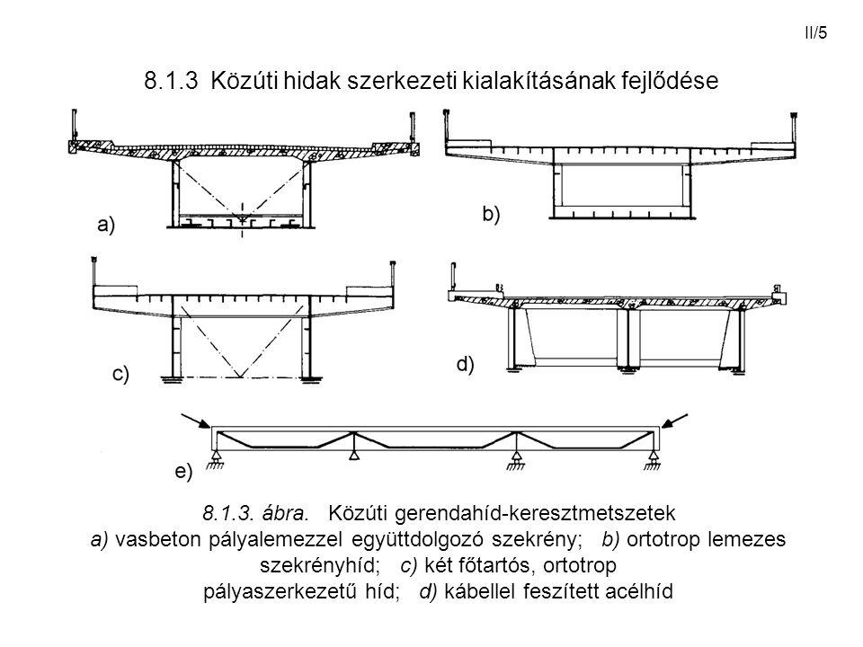 II/5 8.1.3 Közúti hidak szerkezeti kialakításának fejlődése 8.1.3. ábra. Közúti gerendahíd-keresztmetszetek a) vasbeton pályalemezzel együttdolgozó sz