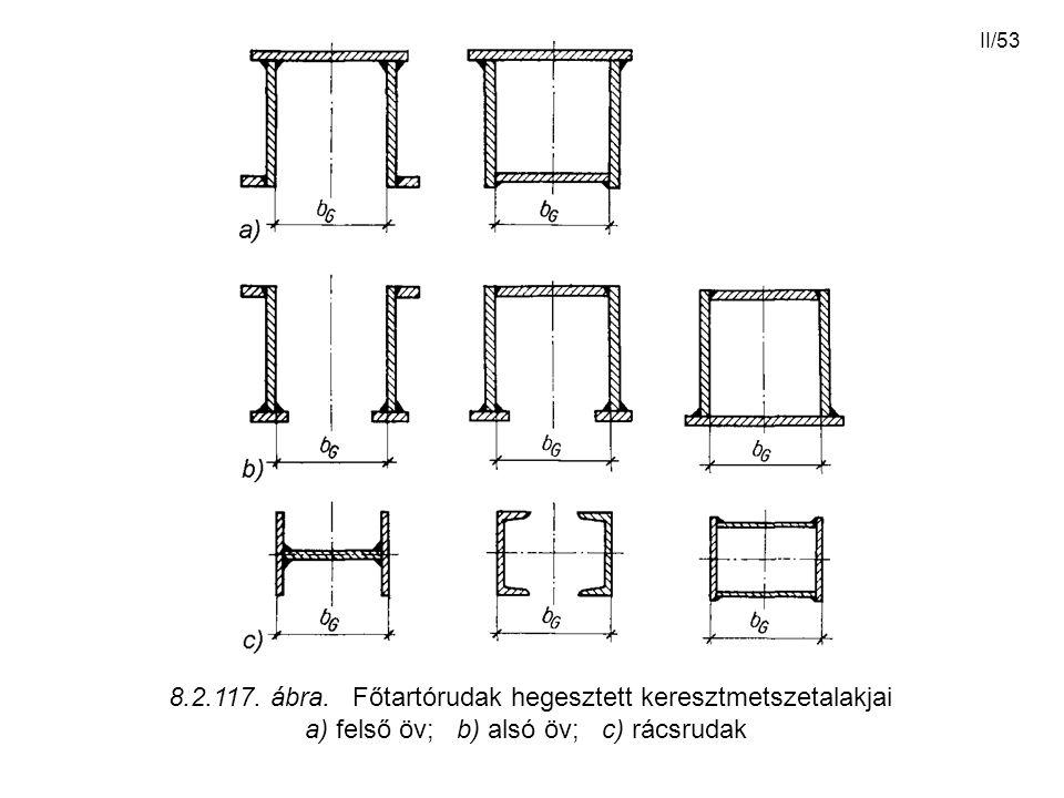 II/53 8.2.117. ábra. Főtartórudak hegesztett keresztmetszetalakjai a) felső öv; b) alsó öv; c) rácsrudak
