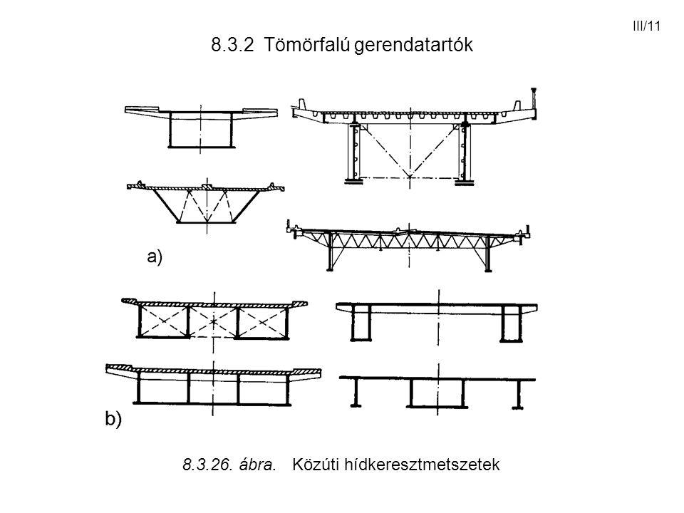 III/11 8.3.2 Tömörfalú gerendatartók 8.3.26. ábra. Közúti hídkeresztmetszetek