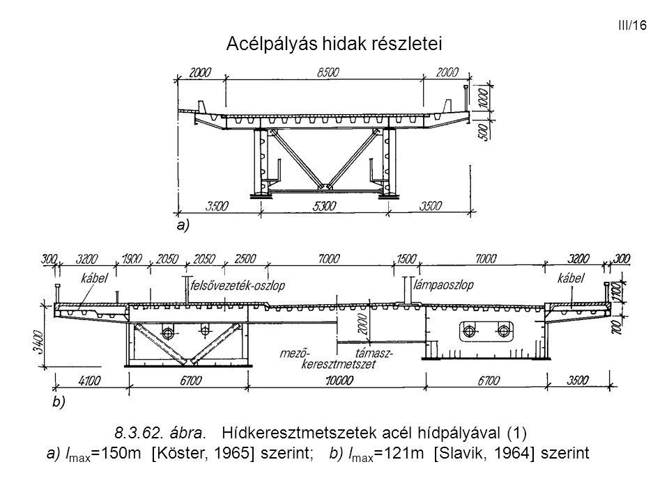 III/16 Acélpályás hidak részletei 8.3.62. ábra. Hídkeresztmetszetek acél hídpályával (1) a) l max =150m  Köster, 1965  szerint; b) l max =121m  Sla