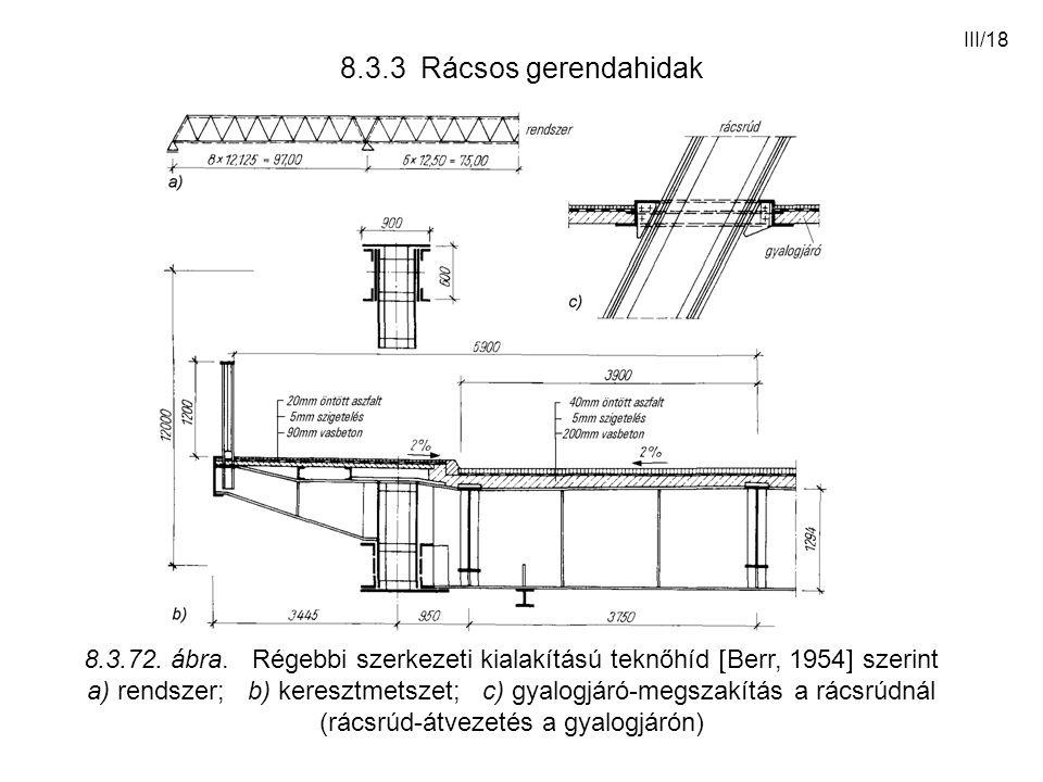 III/18 8.3.3 Rácsos gerendahidak 8.3.72. ábra. Régebbi szerkezeti kialakítású teknőhíd  Berr, 1954  szerint a) rendszer; b) keresztmetszet; c) gyalo