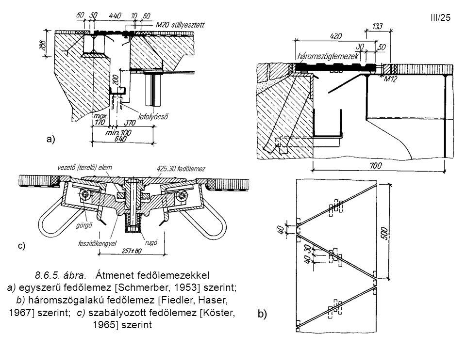 III/25 8.6.5. ábra. Átmenet fedőlemezekkel a) egyszerű fedőlemez  Schmerber, 1953  szerint; b) háromszögalakú fedőlemez  Fiedler, Haser, 1967  sze