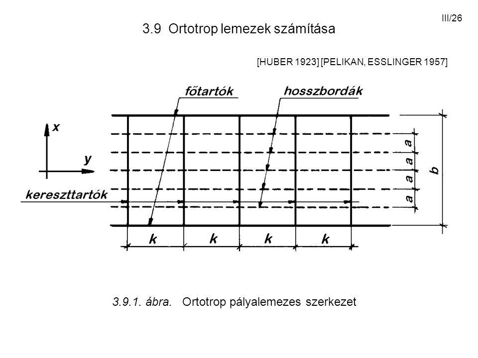 III/26 3.9 Ortotrop lemezek számítása [HUBER 1923] [PELIKAN, ESSLINGER 1957] 3.9.1. ábra. Ortotrop pályalemezes szerkezet