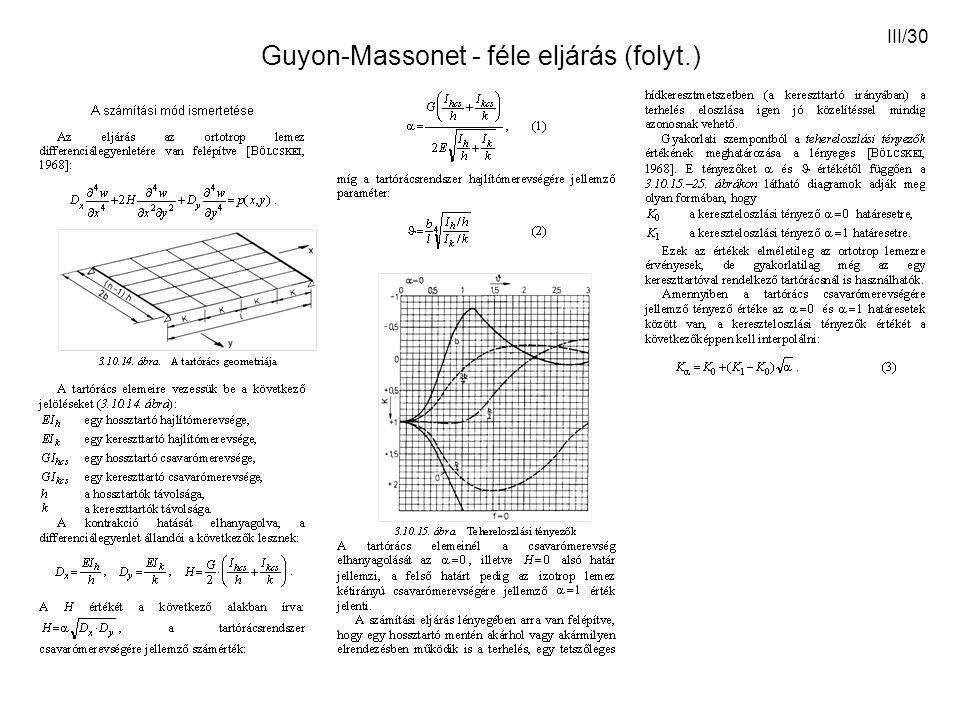 III/30 Guyon-Massonet - féle eljárás (folyt.)