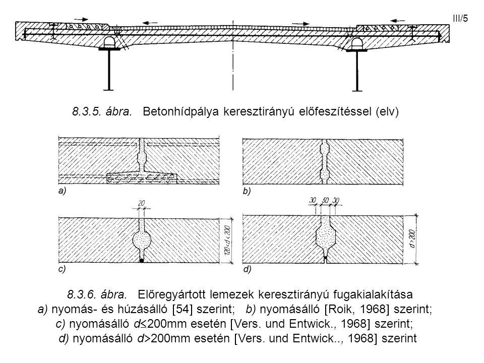 III/5 8.3.5. ábra. Betonhídpálya keresztirányú előfeszítéssel (elv) 8.3.6. ábra. Előregyártott lemezek keresztirányú fugakialakítása a) nyomás- és húz