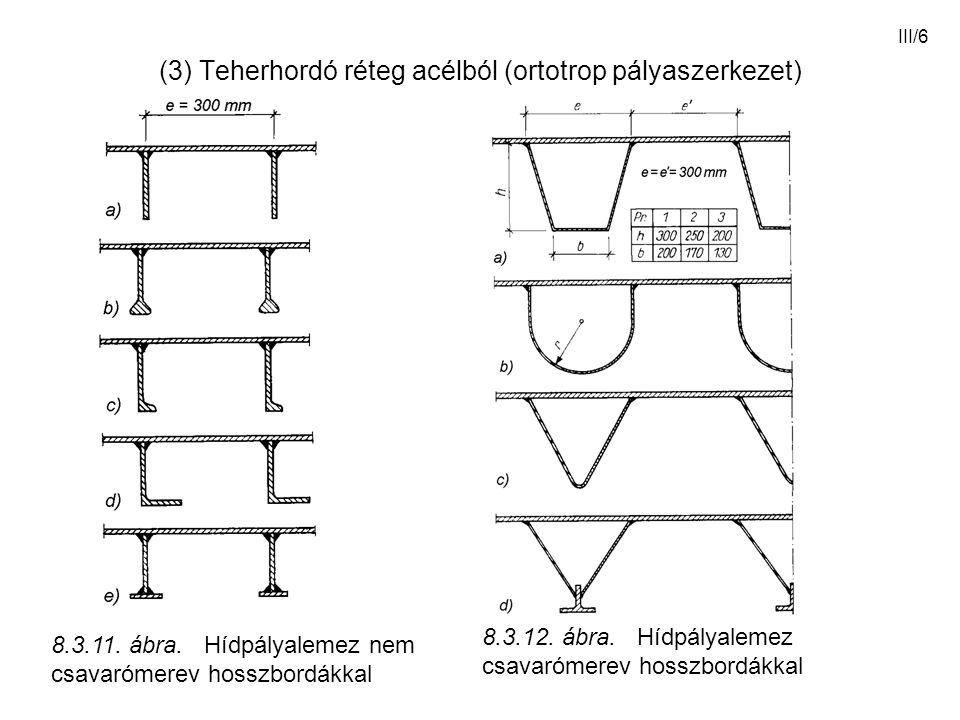 III/6 (3) Teherhordó réteg acélból (ortotrop pályaszerkezet) 8.3.11. ábra. Hídpályalemez nem csavarómerev hosszbordákkal 8.3.12. ábra. Hídpályalemez c