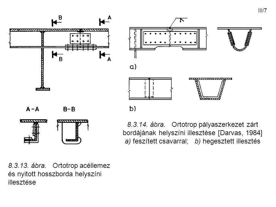 III/7 8.3.13. ábra. Ortotrop acéllemez és nyitott hosszborda helyszíni illesztése 8.3.14. ábra. Ortotrop pályaszerkezet zárt bordájának helyszíni ille