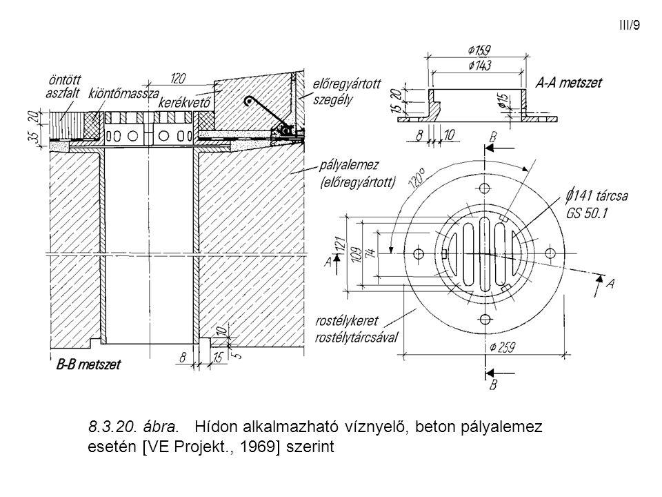 III/9 8.3.20. ábra. Hídon alkalmazható víznyelő, beton pályalemez esetén  VE Projekt., 1969  szerint