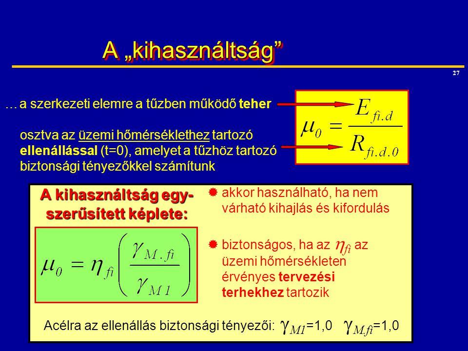 """27 A """"kihasználtság"""" …a szerkezeti elemre a tűzben működő teher osztva az üzemi hőmérséklethez tartozó ellenállással (t=0), amelyet a tűzhöz tartozó b"""